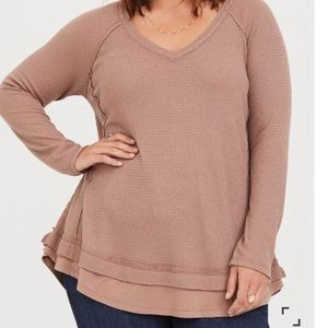 Torrid Taupe Waffle Knit Tunic Top sz torrid 2
